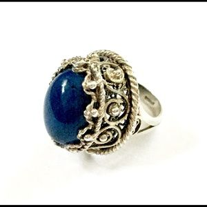 Antique Sterling Silver Blue Stone Ring